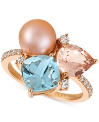 Le Vian Multi Gemstone 2 9 10 Ct. T.W. Cultured Freshwater Pearl 9Mm And Diamond 1 4 Ct. T.W. Ring In 14K Rose Gold Pink
