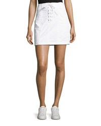 A.L.C. Kylie Laced Front Cotton Mini Skirt White