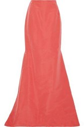 Carolina Herrera Fluted Silk Faille Maxi Skirt Coral