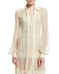 Michael Kors Long Sleeve Self Tie Sheer Lace Blouse Vanilla White Women's