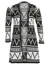 Samya Plus Size Aztec Long Line Cardigan Black White