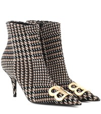 Balenciaga Bb Houndstooth Ankle Boots Beige