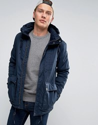 Pull And Bear Pullandbear Navy Parka With Double Pockets In Navy Navy Blue
