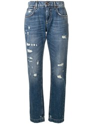Dolce And Gabbana Distressed Effect Jeans Blue