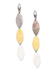 Gurhan Willow 24K Yellow Gold And Sterling Silver Leaf Triple Drop Earrings Silver Gold