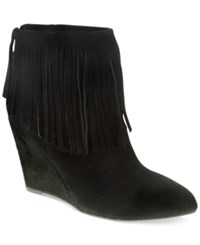Chinese Laundry Arctic Wedge Fringe Booties Women's Shoes Black Suede