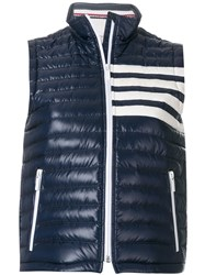 Thom Browne Satin Finished Quilted Down Fill Vest In Nylon Tech Blue
