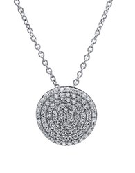 Crislu Simply Pave Platinum Sterling Silver And Cubic Zirconia Pendant Necklace