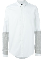 Juun.J Cable Knit Sleeve Shirt White