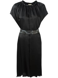 Nude Pleated Trim Belted Dress Black