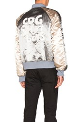 Comme Des Garcons Shirt Polyester Cloth Quilted Bomber Jacket In Metallics Gray Blue Metallics Gray Blue