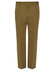 Christophe Lemaire Pleated Cotton And Linen Blend Trousers Green