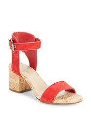 Saks Fifth Avenue Helaine Cork Sandals Cherry
