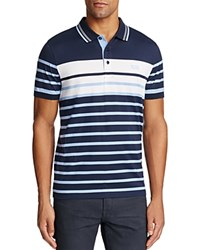 Hugo Boss Green Paule Striped Slim Fit Polo Shirt Blue