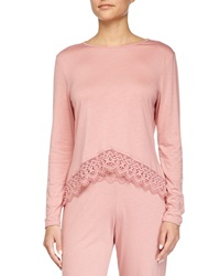 Cosabella Edith Lace Trim Long Sleeve Lounge Top
