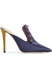 Marco De Vincenzo Woman Color Block Embellished Satin Mules Navy