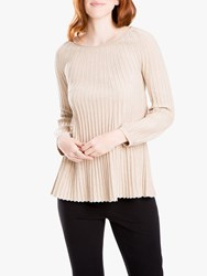 Max Studio Long Sleeve Pleated Knit Oatmeal