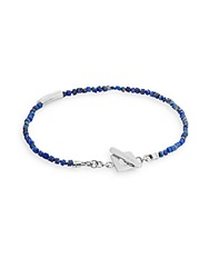 Tateossian Beaded Lapis And Sterling Silver Bracelet