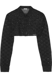 Nina Ricci Cropped Broderie Anglaise Cotton Jacket Black