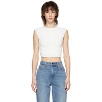 Alexander Wang T By Off White Cropped Ruched Tank Top