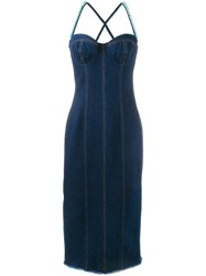 Natasha Zinko Faux Pearl Embellished Dress Blue