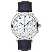 Montblanc 118514 'S Star Legacy Automatic Chronograph Date Leather Strap Watch Blue White