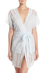 Women's In Bloom By Jonquil Lace Trim Cotton Robe