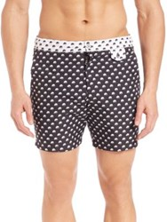 Monsieur Madone Relax N 22 Bubble Print Swim Shorts Black White