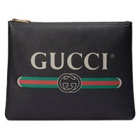 Gucci Print Leather Medium Portfolio Black