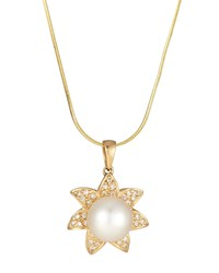 Belpearl 14K Yellow Gold Pearl And Diamond Flower Pendant Necklace Women's