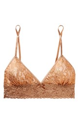Hanky Panky Stardust Metallic Stretch Lace Soft Cup Triangle Bralette Sand