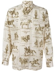Herma S Vintage Horse Print Shirt Nude And Neutrals