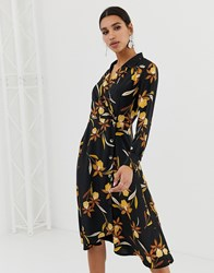 Neon Rose Button Wrap Midi Dress In Romantic Floral Print Black Multi