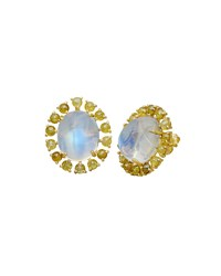 Rainbow Moonstone Oval Stud Earrings Bavna Blue