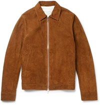 Officine Generale Slim Fit Water Repellent Suede Jacket Brown