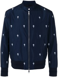 Neil Barrett Printed Bomber Jacket Blue