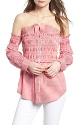 Trouve Stripe Smocked Corset Shirt Red White Lucy Stripe