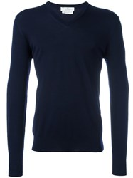 Salvatore Ferragamo V Neck Jumper Blue