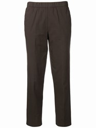 Kiltie Cropped Straight Leg Trousers Brown