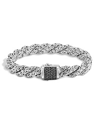 John Hardy Classic Chain Sterling Silver Lava Medium Flat Twisted Chain Bracelet With Black Sapphire Black Silver