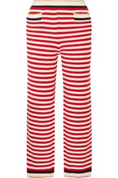 Gucci Cropped Striped Metallic Trimmed Cotton Blend Straight Leg Pants Red