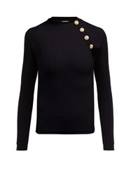 Balmain Ribbed Wool Blend Top Black