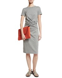 Brunello Cucinelli Short Sleeve Striped Crossover Waist Dress Multi