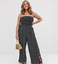City Chic Strapless Print Jumpsuit In Black Multi