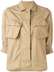 Sacai Crinkled Military Jacket Nude Neutrals
