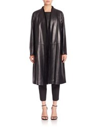 Lafayette 148 New York Tissue Weight Milana Leather And Shearling Coat Black