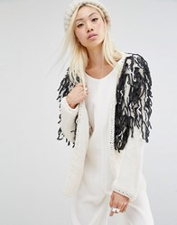 Oneon Hand Woven Shaggy Cardigan Cream