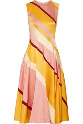 Roksanda Ilincic Lucine Striped Hammered Silk Satin Midi Dress Yellow