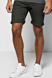 Boohoo Fit Black Denim Shorts In Long Length Black