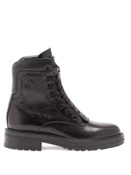 Saint Laurent William Double Lace Up Leather Ankle Boots Black